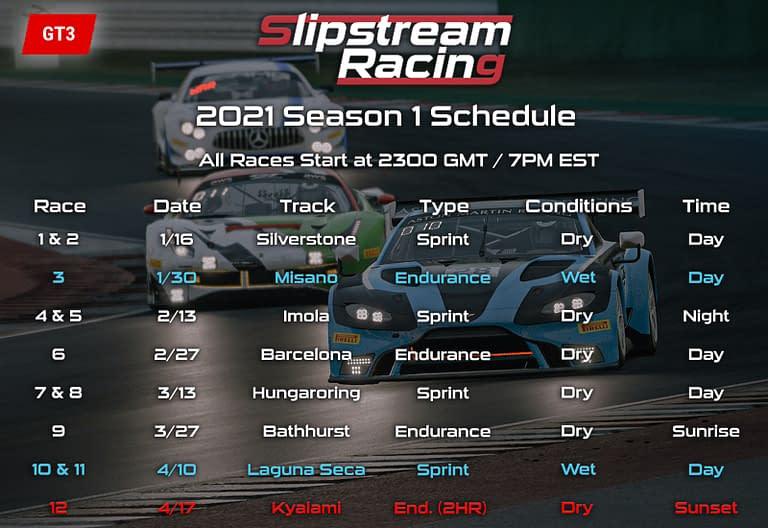 Updated Slipstream Racing Schedule | 2